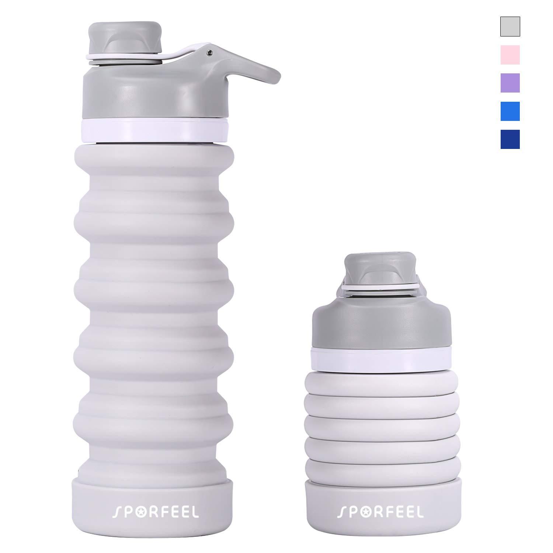 antifuite et Portable Sporfeel Bouteille deau Pliable sans BPA approuv/é par la FDA en Silicone de qualit/é Alimentaire 43,6 g