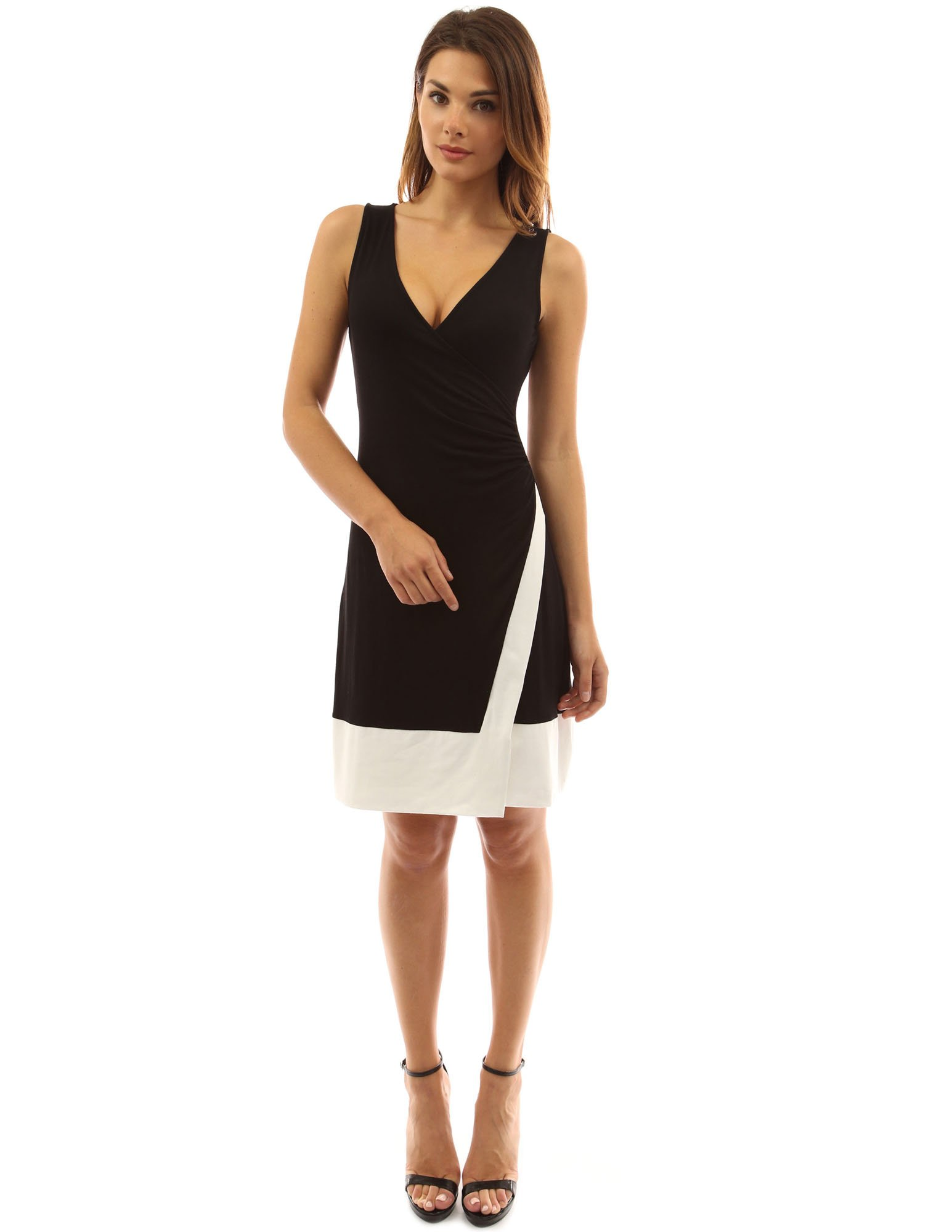 PattyBoutik Women's Block Color V Neck Faux Wrap Dress (Black and Ivory L)