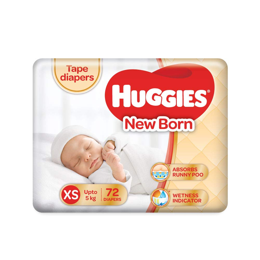 Huggies Taped Diapers, New Born (XS) Size, 72 Counts