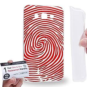 Case88 [Samsung Galaxy E7] Gel TPU Carcasa/Funda & Tarjeta de garantía - Art Fashion Red And White Finger Print Maze Art1561