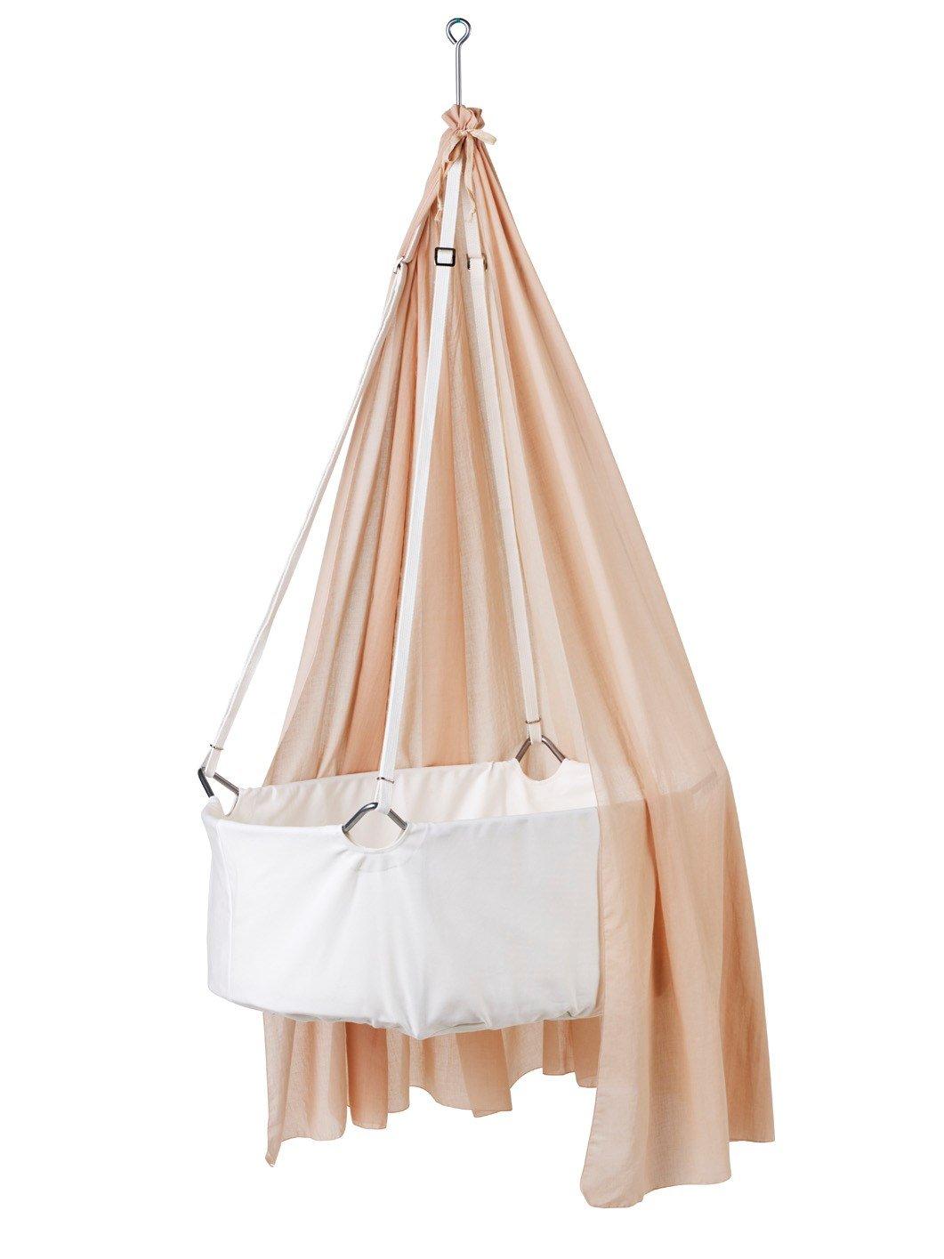 Leander Wiege - Babywiege weiß inkl. Matratze und Deckenhaken - mit Himmel (Schleier) soft pink