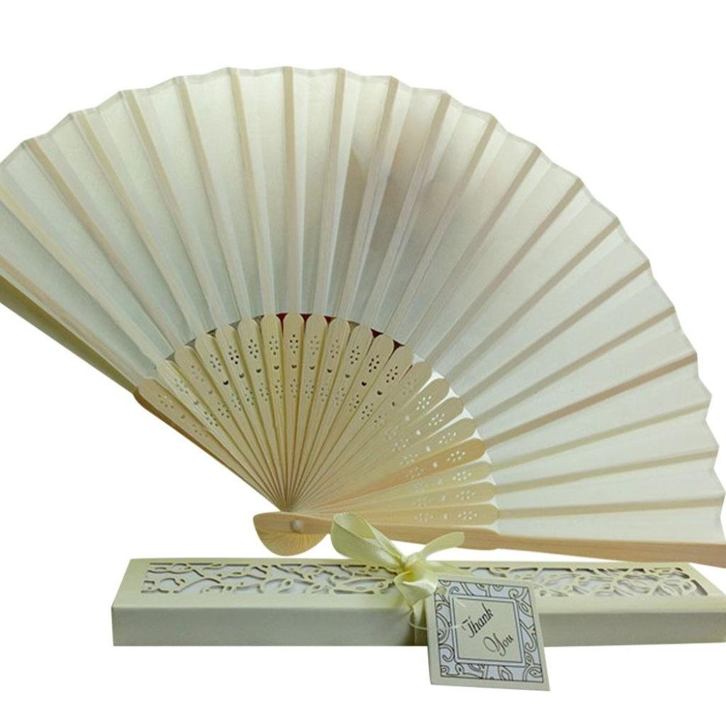 Dance Wedding Party Silk Folding Bamboo Hand Fan with Ribbon Lace Up Gift Box (Beige)