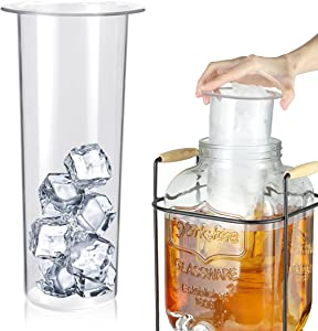AIEVE Ice Cylinder for Beverage Dispenser, Ice Insert Cylinder Ice Cube Cylinder Compatible with 1 Gallon Glass Beverage Dispenser, Juice Dispenser, Drink Dispenser for Parties