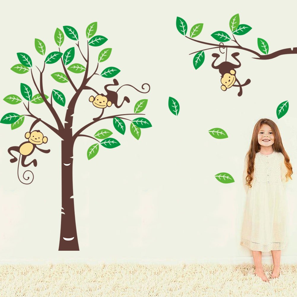 Amazon Cute Monkey Climbing On Beautiful Tree Monkey Wall Decal