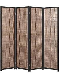 Decorative Openwork Design Black Wood Framed 4 Panel Folding Screen /  Freestanding Room Divider   MyGift