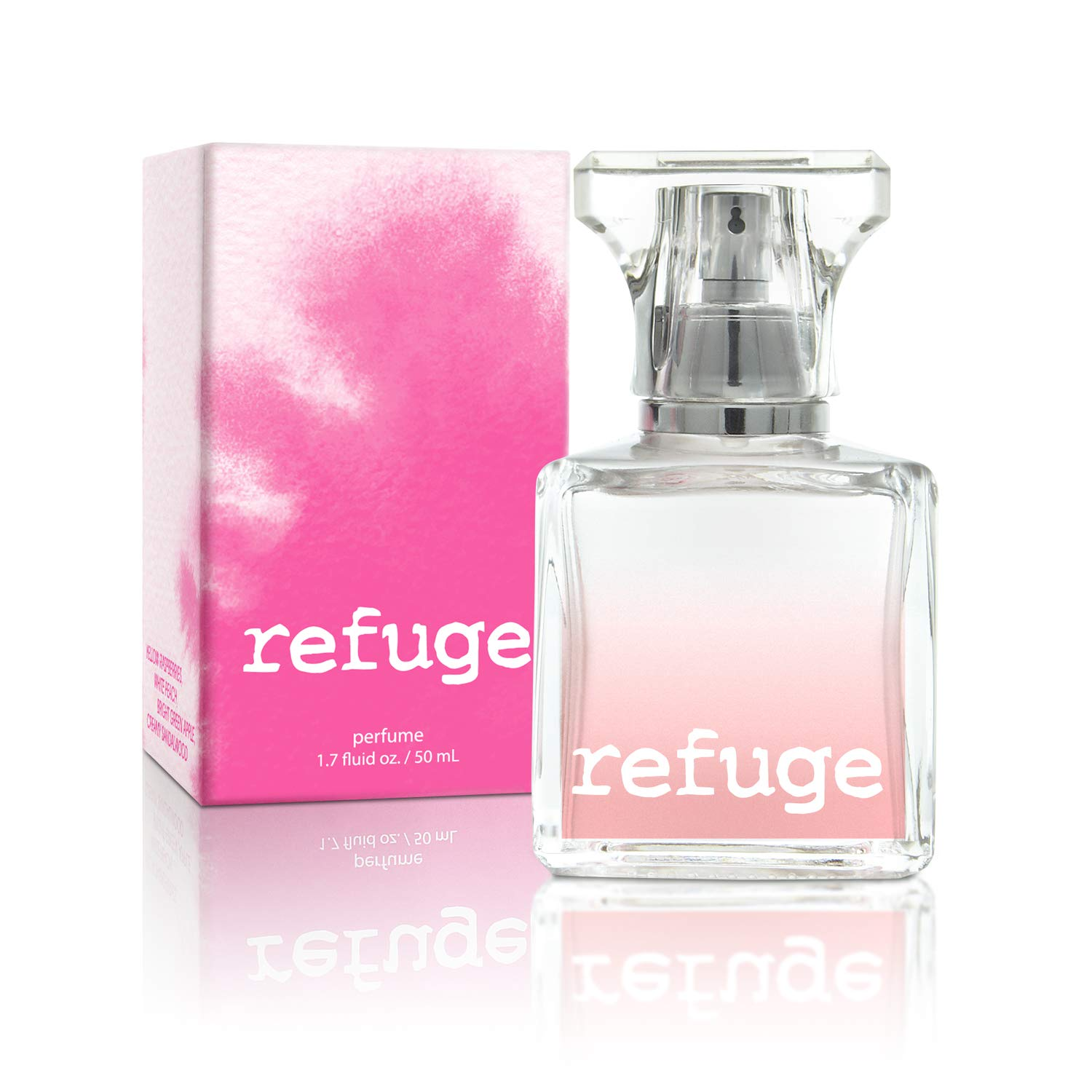 CHARLOTTE RUSSE Refuge Perfume Spray - Fresh Fruity Floral Fragrance for Daytime Wear, Evening Wear and Special Occasions - Raspberry, Peach, Apple, Sandalwood - 1.7 oz / 50 ml
