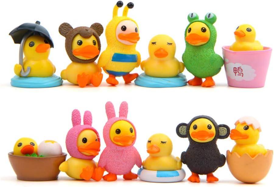 TangTanger 12 pcs Duck Figures Toys Dolls Duck Action Figures Models Toys Garden Cake Decoration
