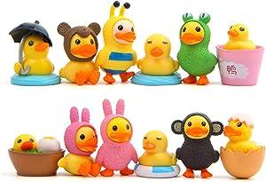TangTanger 12 pcs Duck Figures Toys Dolls Duck Action Figures Models Toys, Garden Cake Decoration