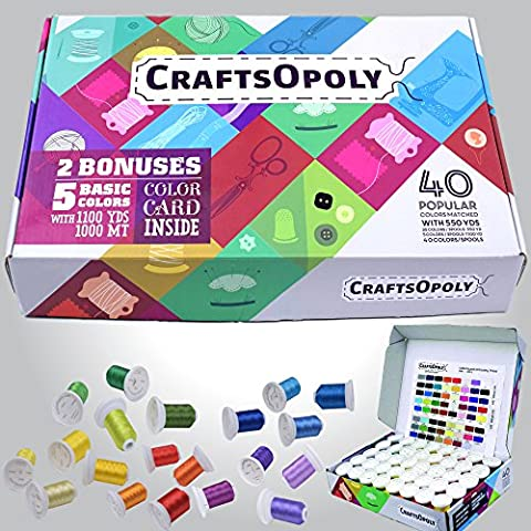 CraftsOpoly Embroidery Polyester Thread Assortment of 40 Brother Compatible Colors And Machines. 35 Colors with 550yds, 5 Colors with 1100yrds. Reusable Box With Color Codes Insert To Keep - Embroidery Box Set