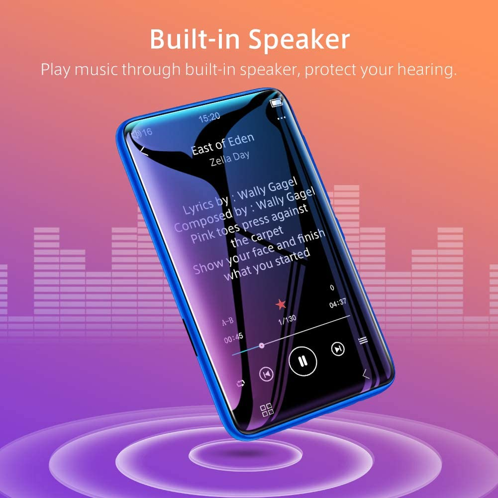 TIMMKOO MP3 Player with Speaker, 4.0 Full Touchscreen HD Video Mp4 Player, 8GB Portable HiFi Lossless Sound Mp3 Music Player with FM Radio, Voice Recorder, E-Book, Supports up to 128GB TF Card Blue