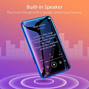 TIMMKOO MP3 Player with Bluetooth, 4.0 Full Touchscreen Mp4 Mp3 Player with Speaker, 8GB Portable HiFi Sound Mp3 Music Player with FM Radio, Voice Recorder, E-Book, Supports up to 128GB TF Card Blue (Color: Blue, Tamaño: Bluetooth)