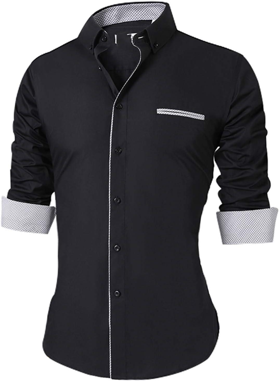 Keamallltd Camisas Casuales De Los Hombres Camisa De Vestir De Manga Larga De Moda para Hombres Camisa De Vestir De Oficina Hombre Todo El Tamaño XS-Plus Tamaño: Amazon.es: Deportes y aire libre