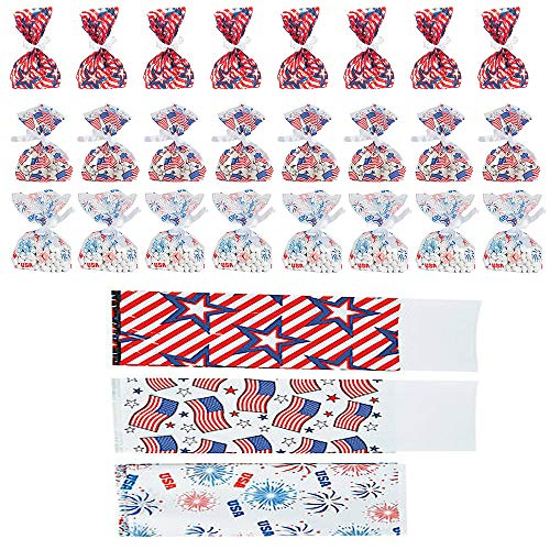 Patriotic America Bags Plastic Cellophane Assorted Bag (24-Pack)