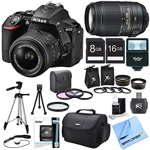 Nikon D5500 Black DX-Format Digital SLR Camera Bundle – Includes 18-55mm & 55-300 Lens, Lens Set, Flash, Filter Kit, 2 SD Cards, Carrying Case, Card Wallet, Card Reader, Tripod, Mini Tripod & More