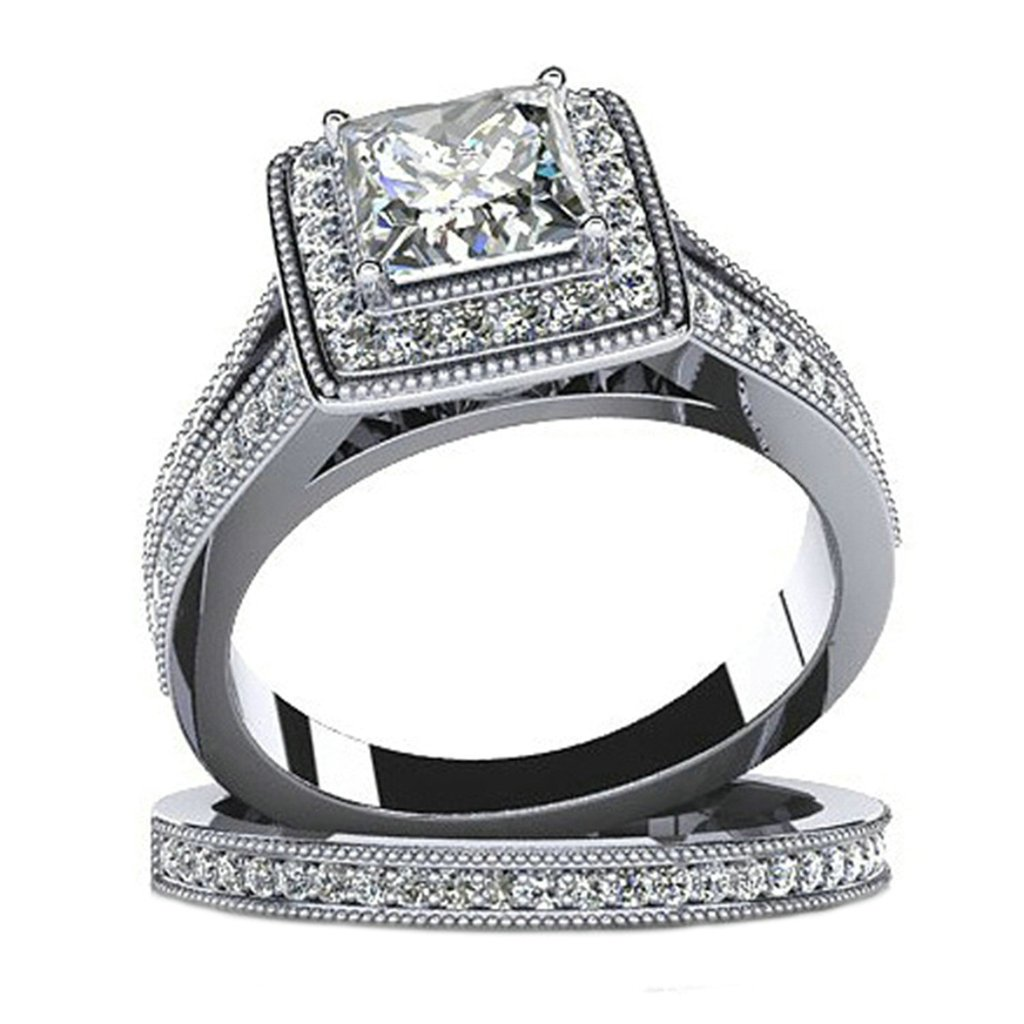 925 Sterling Silver Women Eternity Engagement Wedding Band Ring Cubic Zirconia Square Size 5