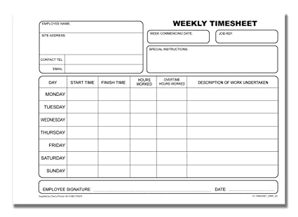 Cherry Carbonless Ncr Weekly Timesheet Duplicate Book A  Sets
