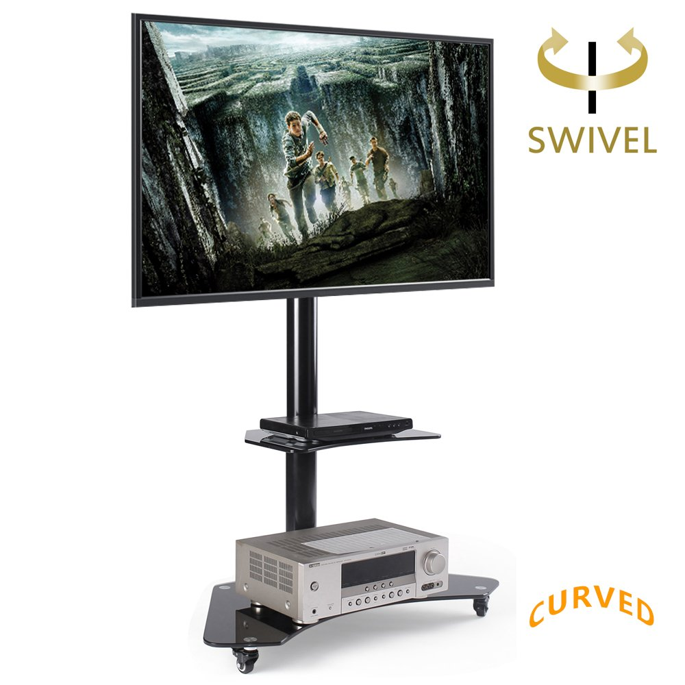 Black Friday Deals Cyber Monday Deals-RFIVER Mobile TV Floor Cart with shelves and wheels for 32-65'' TVs, Curved Glass TV Floor Stand with Swivel Mount Bracket and Height Adjustment TF4001