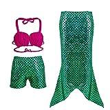 Frogwill Girls Mermaid Tail Bathing Suit 3 Piece Bikini Set Swimwear 2/3Y
