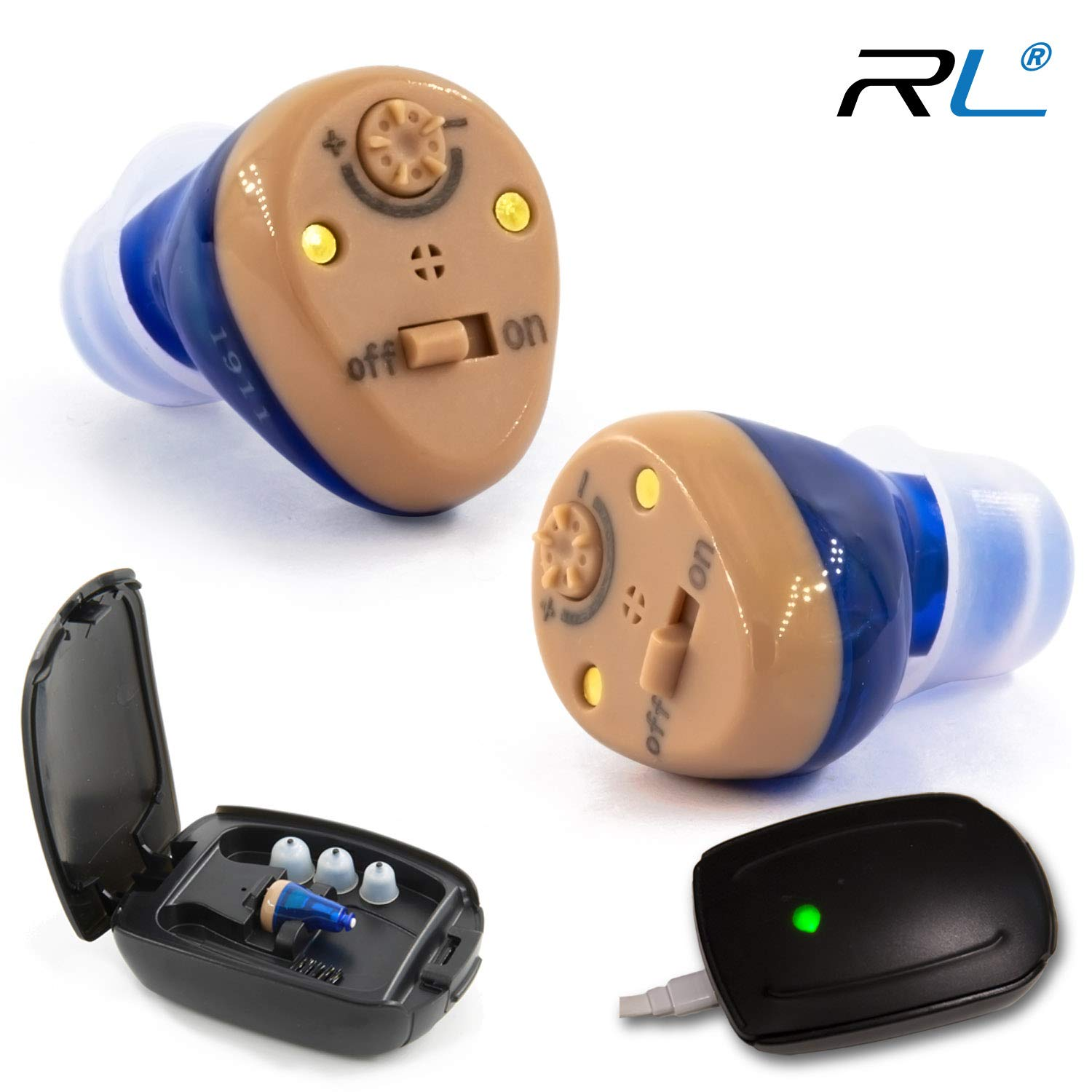 R&L Rechargeable Hearing Amplifier C100 to Aid and Assist Hearing for Adults and Seniors, Digital CIC ITE ITC Style Rechargable Device, Fit Both Ears (2 Pack) by R&L
