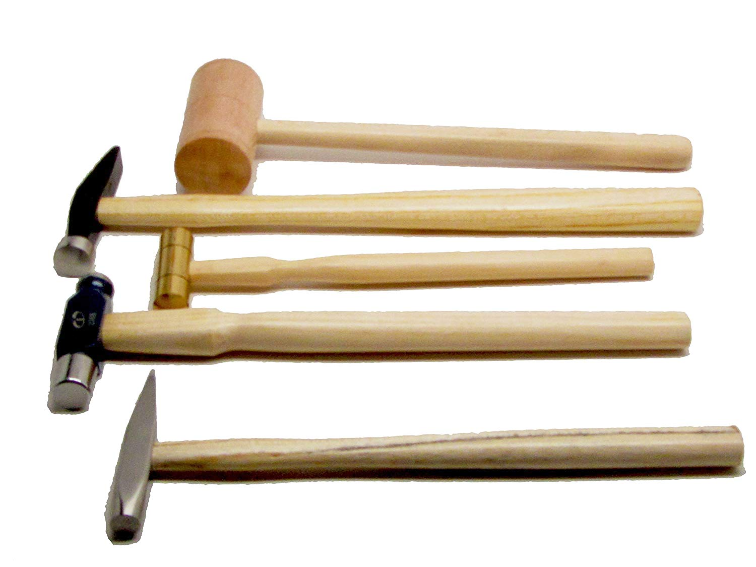 5 Piece Jewelers Hammer Set, Professional Kit Including 2 Oz Ball Peen, 9 Oz Goldsmith, 2 Oz Brass, Rivet, and 3 Oz Wooden Mallet UJ Ramelson Co