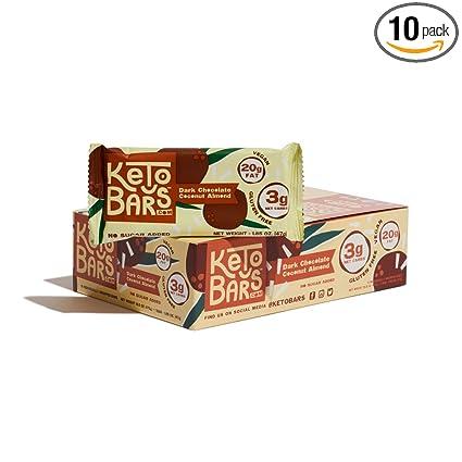 Ketobars The Original High Fat Low Carb Keto Snack Bars Simple Ingredients Gluten Free Vegan Dark Chocolate Coconut Almond 10 Count