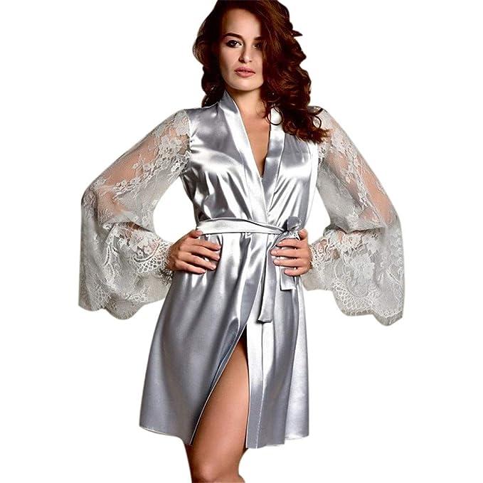 212d6730e18973 TEBAISE Damen Satin Kimono Morgenmantel Lang Bademantel Frauen ...