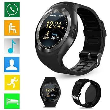 Diadia - Reloj inteligente con Bluetooth, monitor de frecuencia cardíaca y pantalla completa redonda, para deportes, ...