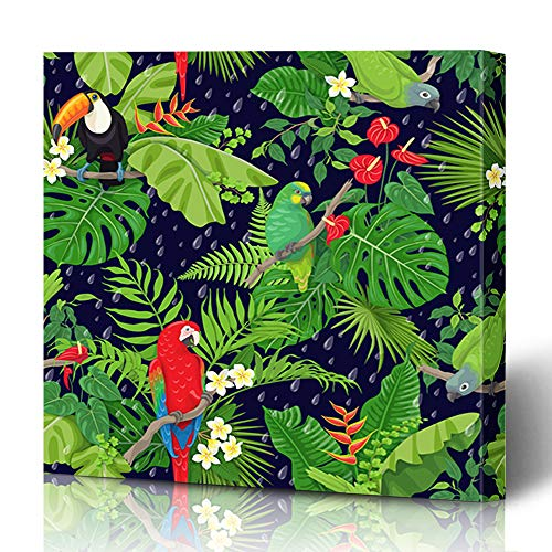 Ahawoso Canvas Prints Wall Art 12x16 Inches Parrot Blue Flower Pattern Tropical Birds Leaves Falling Green Summer Exotic Flat Nature Decor for Living Room Office Bedroom