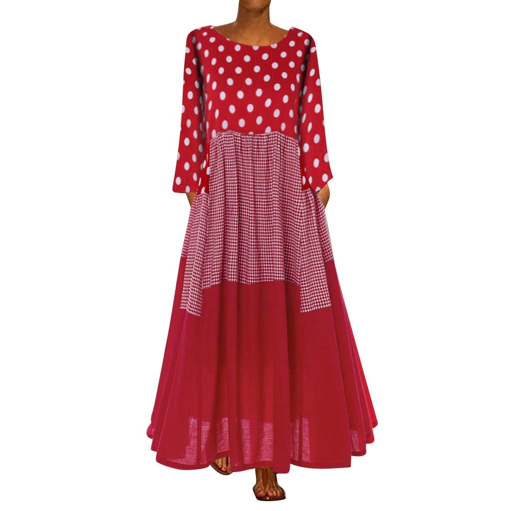 Women Plus Size 3/4 Sleeve Polka Dot Maxi Dresses Casual Loose Bohemian Beach Swing Dress with Pockets (Red, M) by Jieou