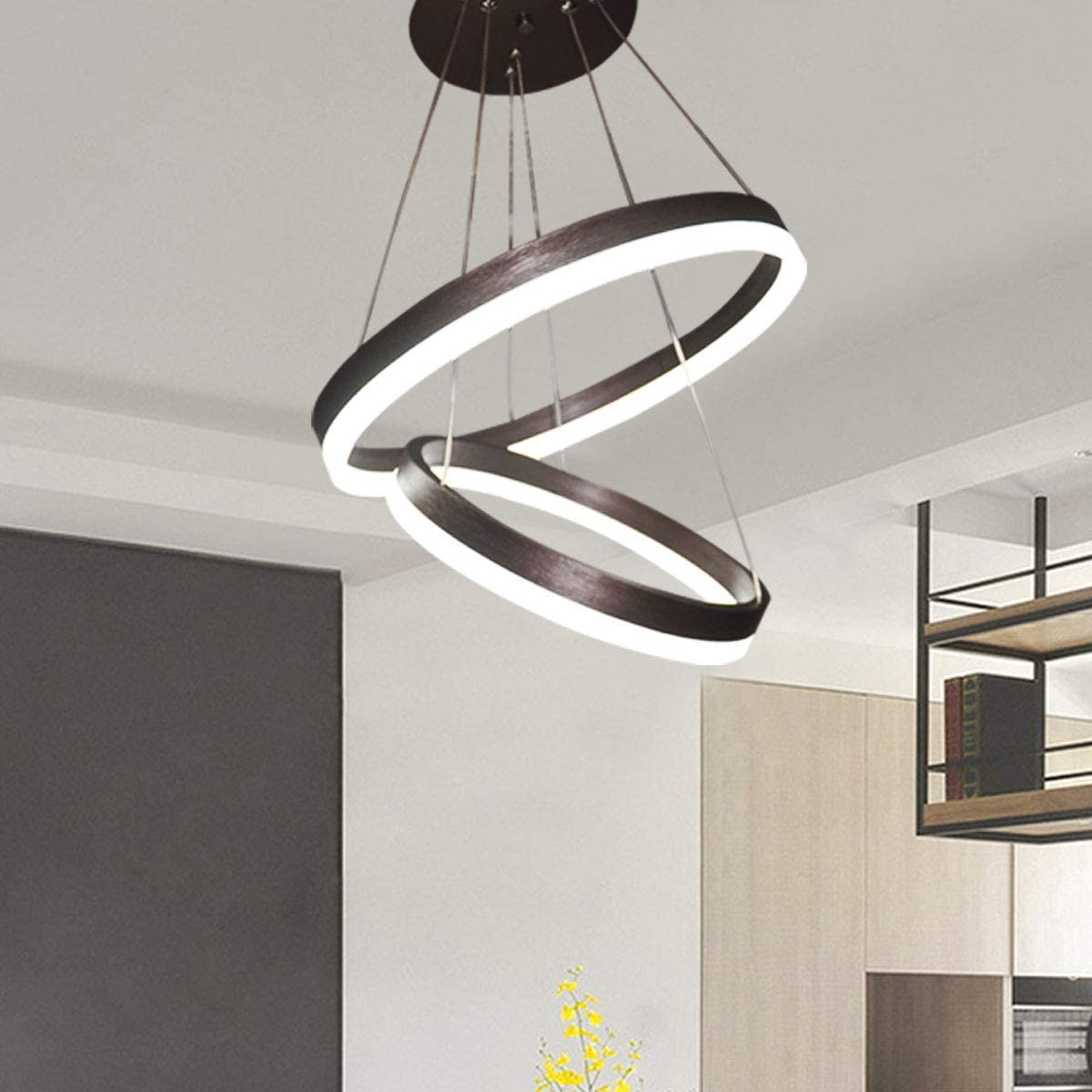 Jaycomey Modern LED Pendant Light,Circular Acrylic Chandelier Adjustable  Two Rings Ceiling Pendant Light for Living Room Bedroom Kitchen
