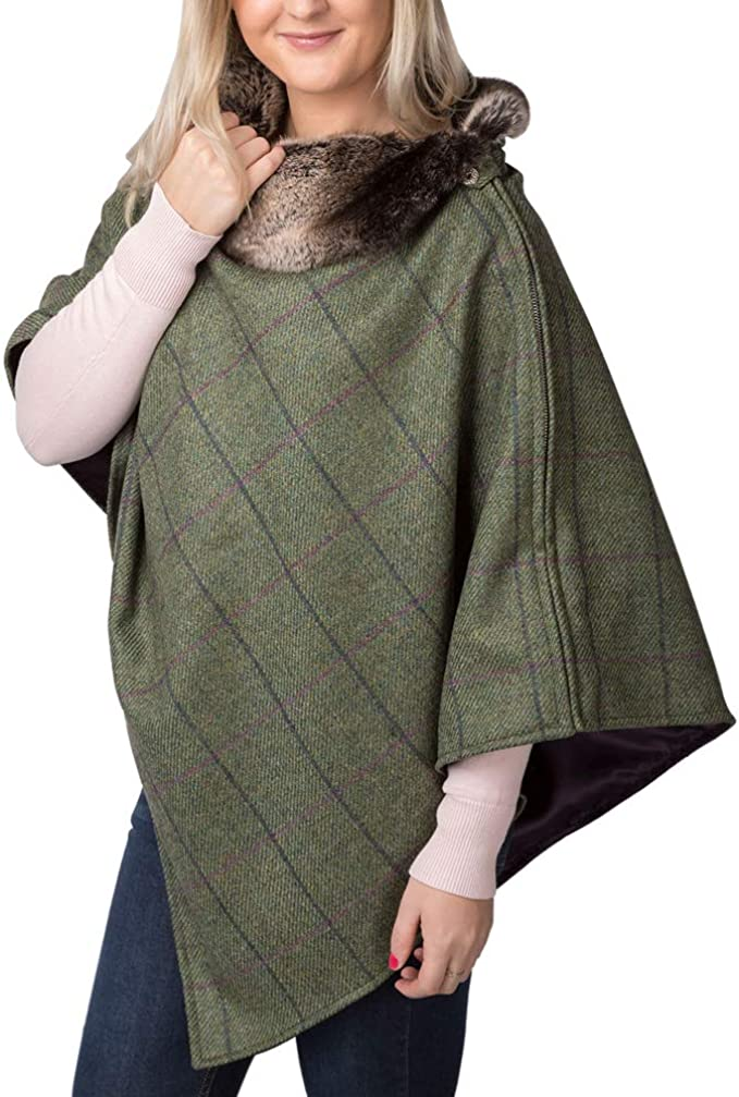 Handmade Green 100/% wool tweed Cape Poncho