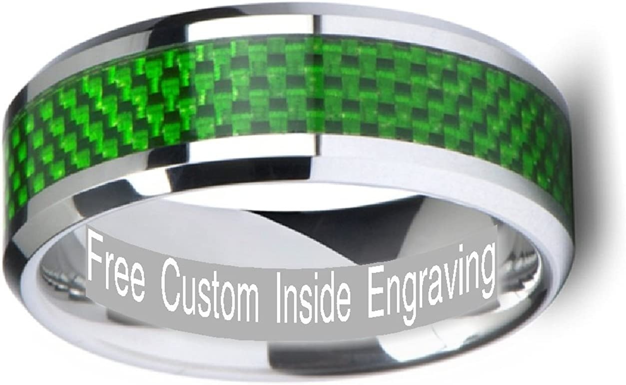 Thorsten Royce Tungsten Carbide Contemporary Metal Wedding Band Ring with Single Diamond and Carbon Fiber Inlay 8mm Wide from Roy Rose Jewelry
