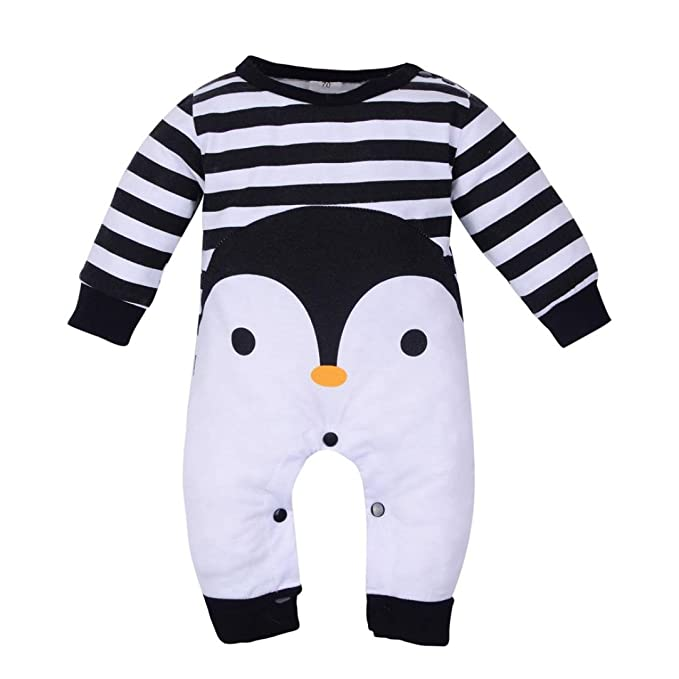 Amazon.com: kollmert Unisex Baby Penguin Stripe Jumpsuit ...