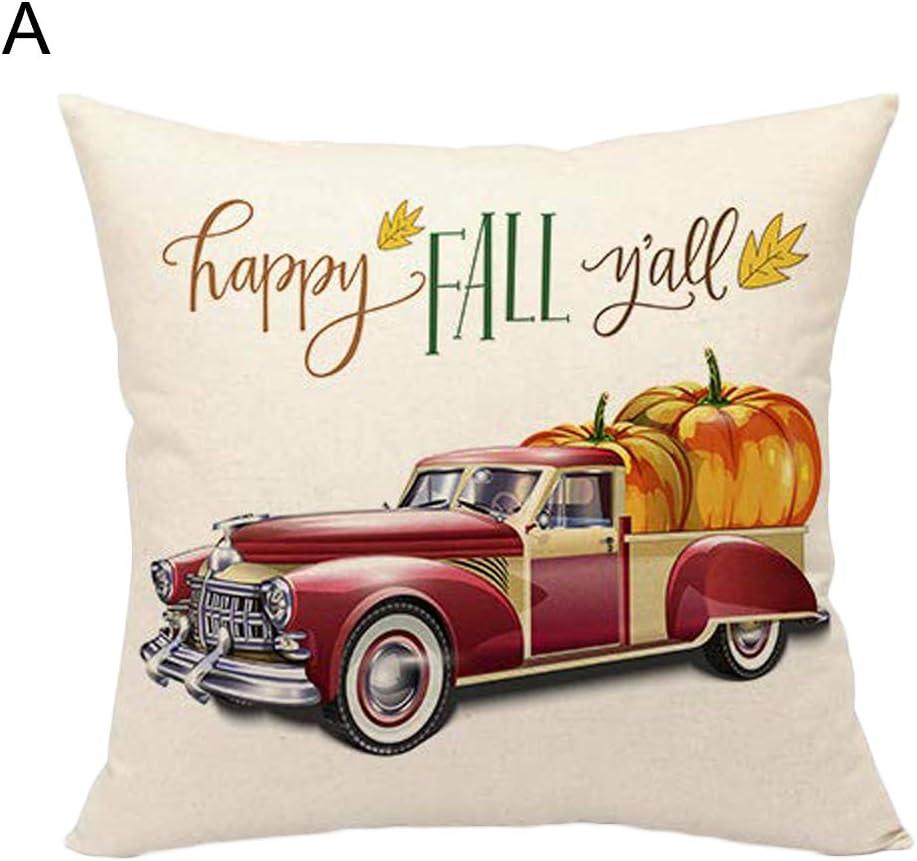 Kissenbezug f/ür Thanksgiving Day Home Sofa Decor f/ür Zuhause Green Car bequem 45 x 45 cm Leinen K/ürbis-Auto-Druck elegant Drachenkissenbez/üge