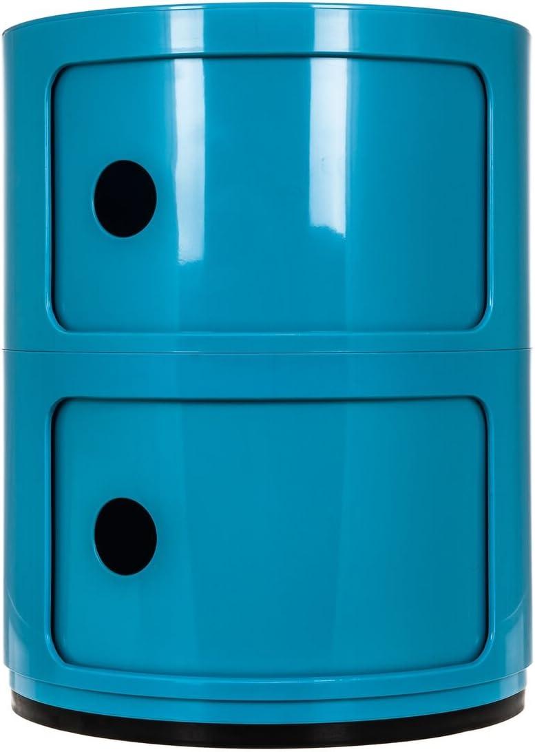 ALL BLUE Costello/® HQ 2 TIER ROUND STORAGE UNIT OFFICE//BATHROOM//KITCHEN RACK CADDY DRAWER COMPONIBILI 2 TIER DRAWER BEDSIDE UNIT TABLE BATHROOM CABINET CADDY BEDROOM CHEST ROUND MODULAR KITCHEN UNIT