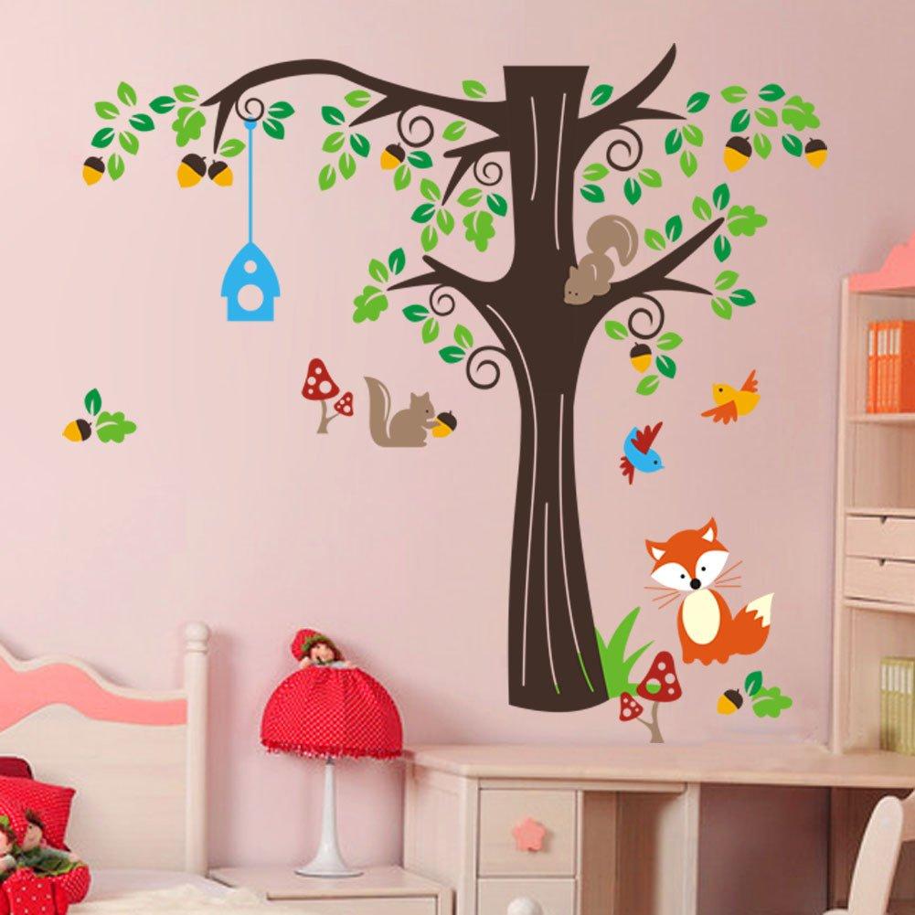 WallStickersDecal ® wallStickersDecal animaux et écureuil renard arbre et oiseaux stickers muraux, Coloré, (H x l) 150 x 134 cm: Amazon.es: Bebé