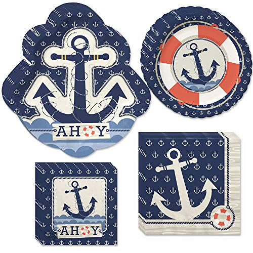 (Big Dot of Happiness Ahoy Nautical - Party Tableware Plates, Napkins - Bundle for)