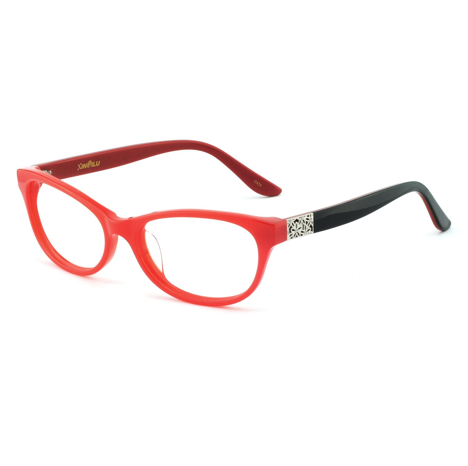 OCCI CHIARI Fashion Acetate Frame Rectangular Eyeglasses with Clear Lenses for Womens (Red-Black, 54)