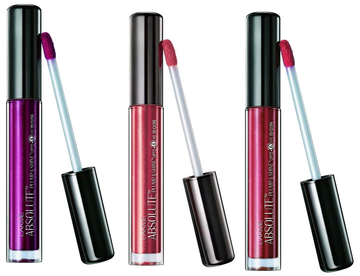Lakme Absolute Plump and Shine Lip Gloss, Beige Shine, 3g+ Plum Shine, 3ml + Pink Shine