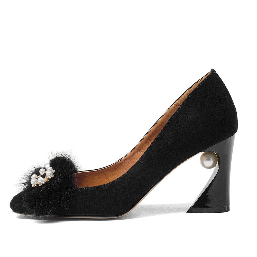 Nine Seven Women's Square Toe Chunky Heels, Vintage Floral Handmade Dress Pumps with Fur Peal B07B48QQHK 10 B(M) US|Black