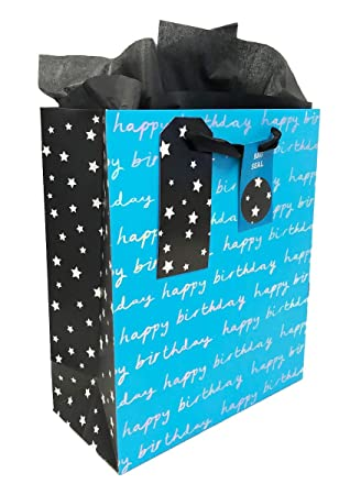 Birthday Gift Bag Mens Medium For Him Boys Blue Tissue Paper Present Wrap Set