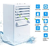 Portable Air Conditioner Fan Mini Evaporative Air Cooler Small Misting Swamp Cooler Noiseless Personal Air Cooler Fan Desktop Fan Humidifier Fan Bladeless Quiet for Office, Dorm, Room(Free Ice Tray)