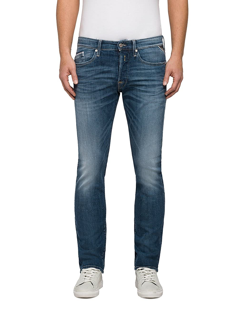 TALLA 32W / 34L. REPLAY Waitom Jeans Rectos para Hombre
