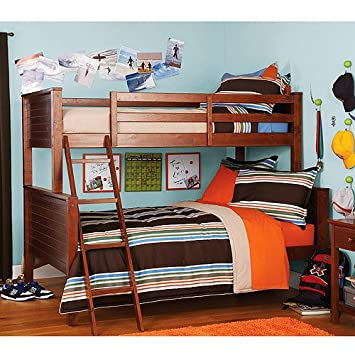 twin over full bunk bed with stairs plans trundle and drawers zone walnut