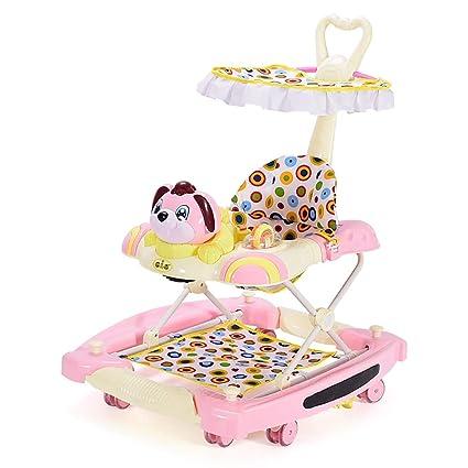 GUO@ Baby Walker Rueda silenciosa Multifunción Plegable antivuelco 4 en un carro infantil Cochecito para