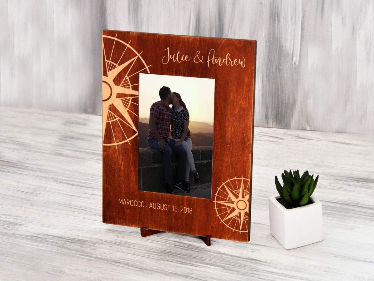 5x7 Custom Picture Frame Personalized Photo Frame Traveler Gift Compass Honeymoon Gifts for Couple Engraved Wood Photo Frame Destination Wedding Gift for Parents Wanderlust Nautical Gift 4x6 6x8