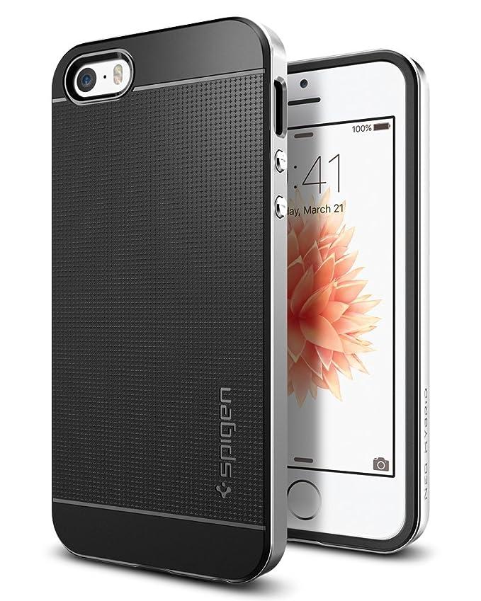 iPhone SE Hülle, Spigen® iPhone 5S/5/SE Hülle [Neo Hybrid] Dual-Layer Schutzrahmen [Satin Silber] Metallisierte tasten / Durc