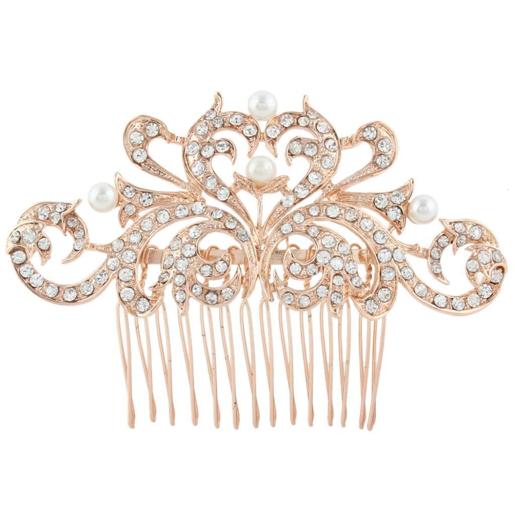 Ever Faith Heart Cream Simulated Pearl Hair Comb Clear Austrian Crystal N03401-3