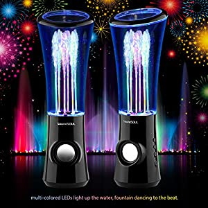 Dancing Water Speakers LED Speakers Light Show Water Fountain Speakers Chrismas Gift for Kids(3.5mm Audio Plug, 4 Colored LED Lights, Dual 3W Speakers, Portable Lightweight ) - Black