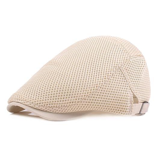 c8a9f7f33e4 Opromo Mens Breathable Mesh Summer Hat Newsboy Beret Ivy Cap Cabbie Flat Cap -Beige